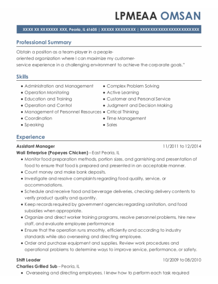 Assistant Manager resume format Illinois
