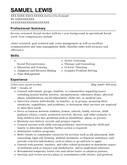 Crisis care social worker resume example Illinois