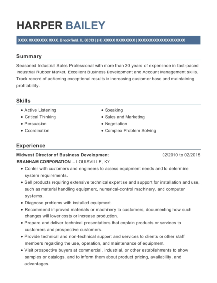 Midwest Director of Business Development resume template Illinois