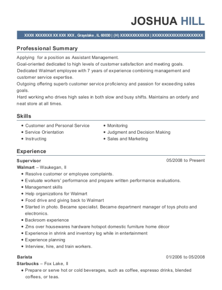 Supervisor resume format Illinois