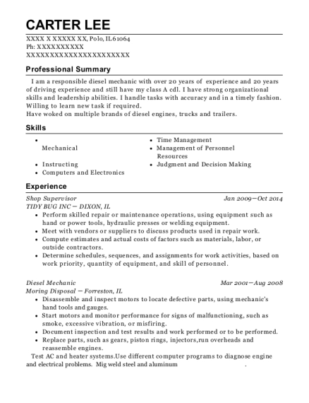Shop Supervisor resume sample Illinois