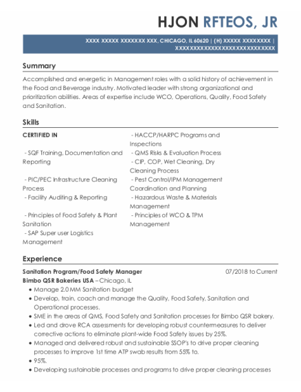 Sr Manager New Partner Development resume template Illinois