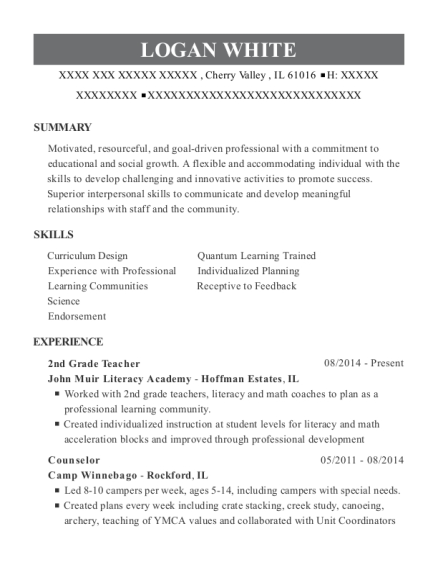 2nd Grade Teacher resume template Illinois
