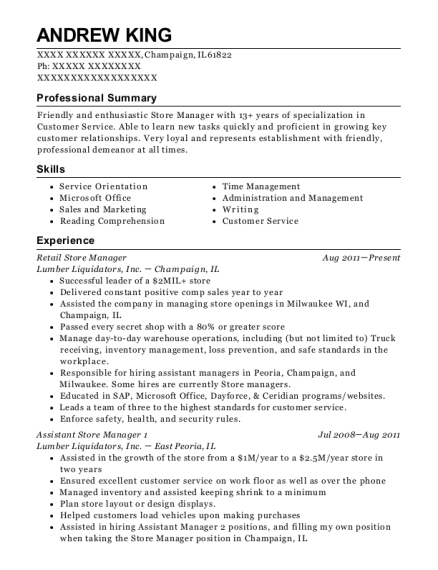 Retail Store Manager resume template Illinois