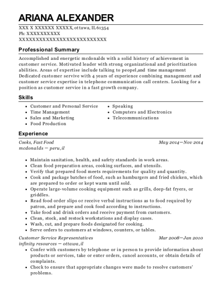 Cooks resume sample Illinois