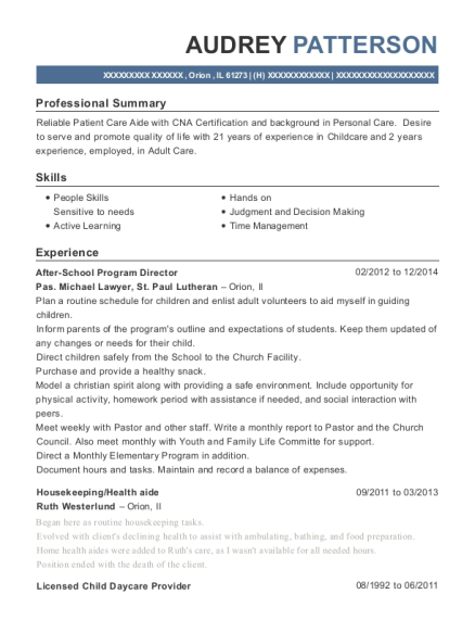After School Program Director resume template Illinois