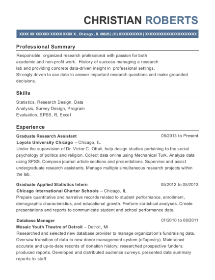 Graduate Research Assistant resume sample Illinois