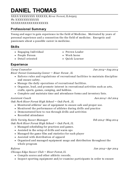 Camp Counselor resume example Illinois