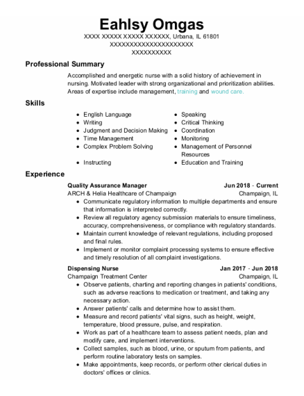 Quality Assurance Manager resume format Illinois