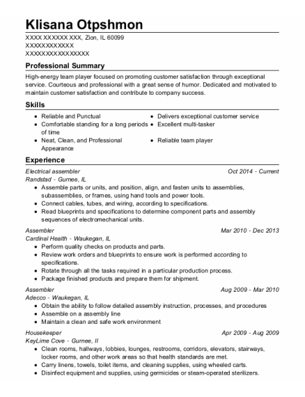 Electrical assembler resume format Illinois