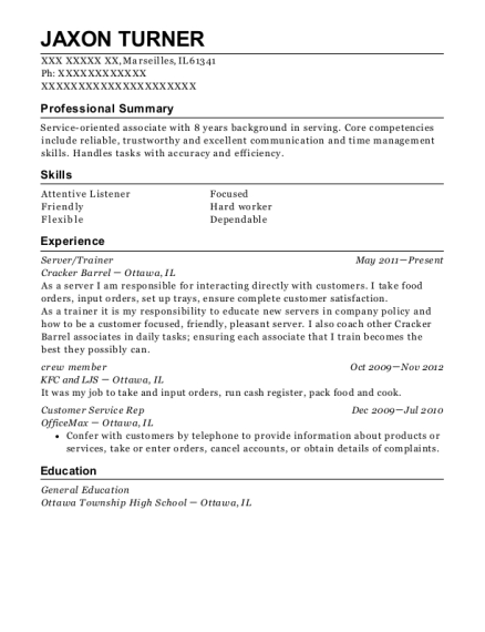 Server resume example Illinois