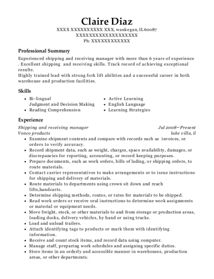 Shipping and receiving manager resume sample Illinois