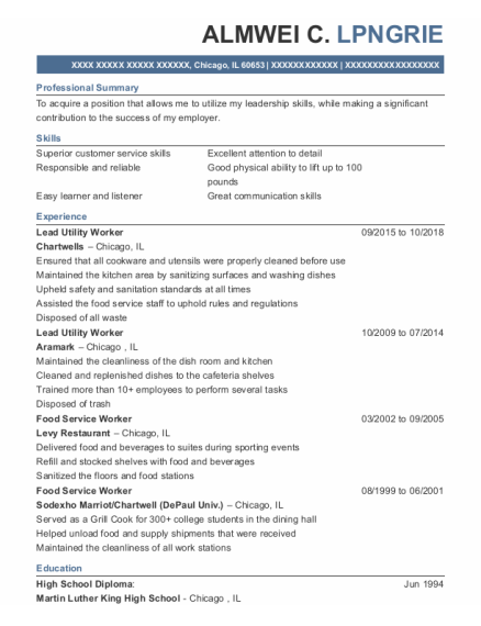 Food Service Worker resume example Illinois