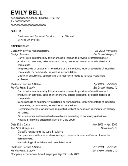 Customer Service Representative resume sample Illinois