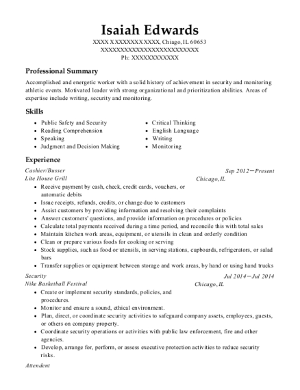 Cashier resume sample Illinois
