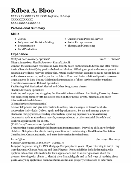 Loan Officer resume example Illinois