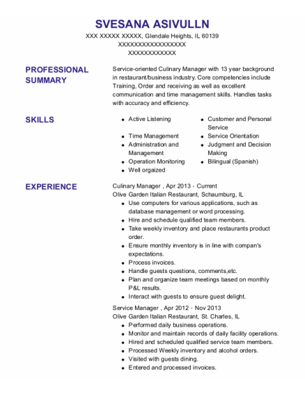 Culinary Manager resume format Illinois