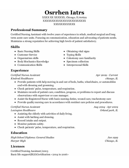 Certified Nurses Assistant resume sample Illinois