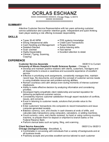 Customer Service Associate resume template Illinois