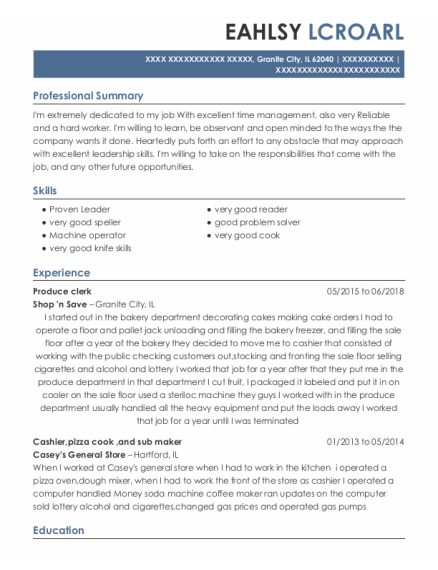 Produce Clerk resume sample Illinois