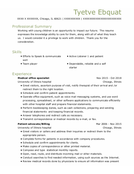 Medical Office Specialist resume template Illinois