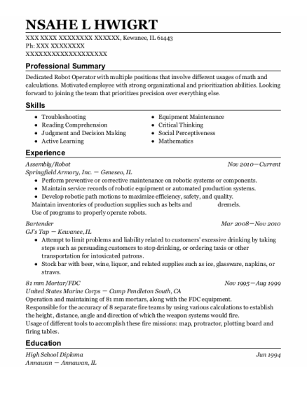 Assembly resume format Illinois