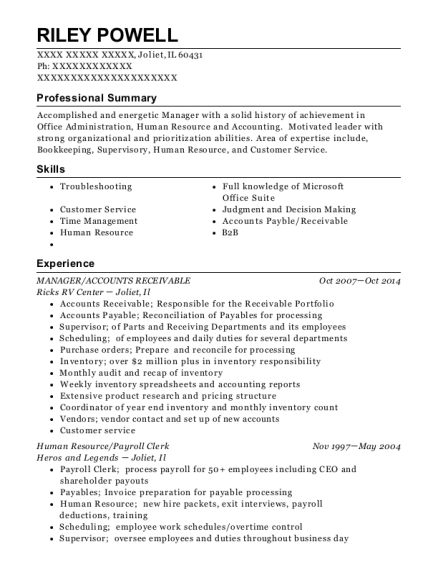 MANAGER resume format Illinois