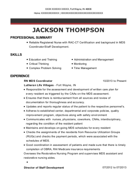 RN MDS Coordinator resume example Indiana