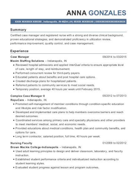 Case Manager resume format Indiana