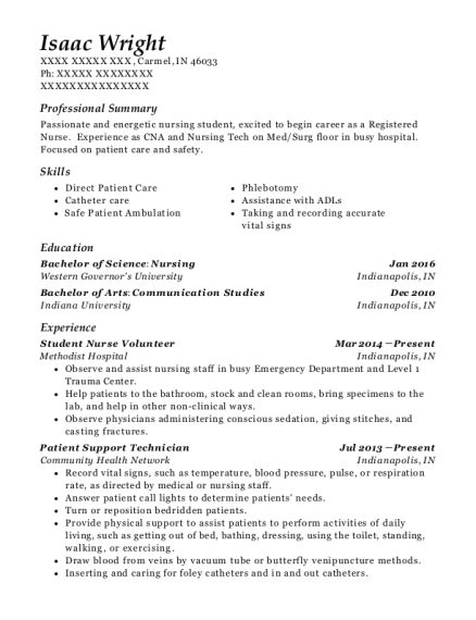 Methodist Hospital Student Nurse Volunteer Resume Sample
