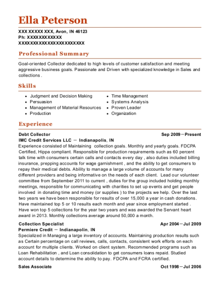 Debt Collector resume format Indiana