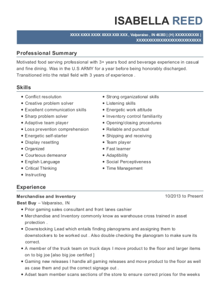 Merchandise and Inventory resume template Indiana
