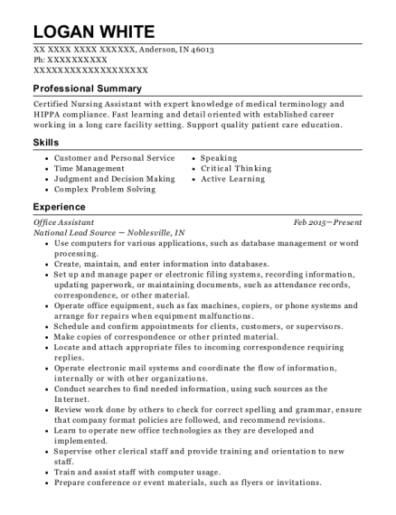 Office Assistant resume template Indiana