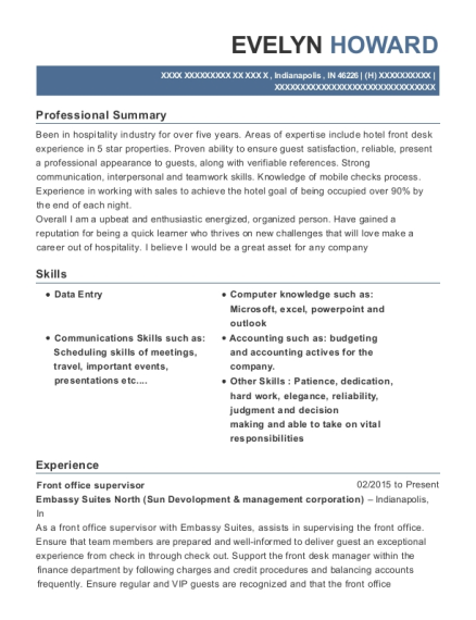 Front Office Supervisor resume template Indiana