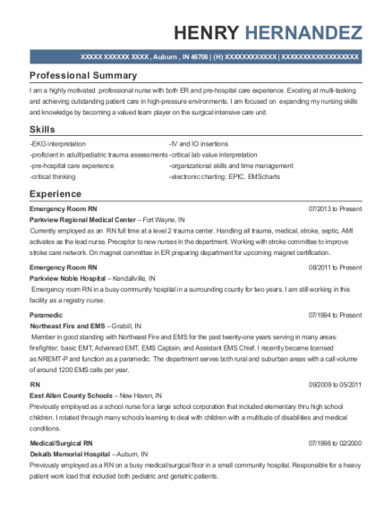 Emergency Room RN resume template Indiana