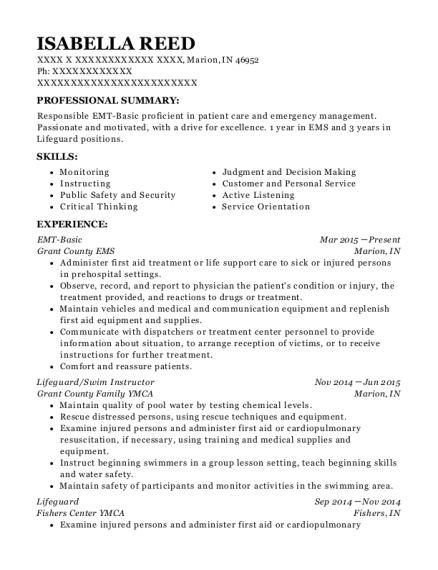 EMT Basic resume format Indiana