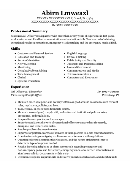 911 Dispatcher resume format Indiana