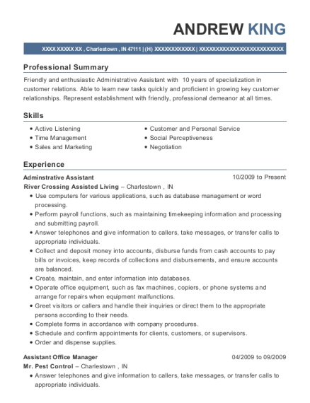 Adminstrative Assistant resume sample Indiana