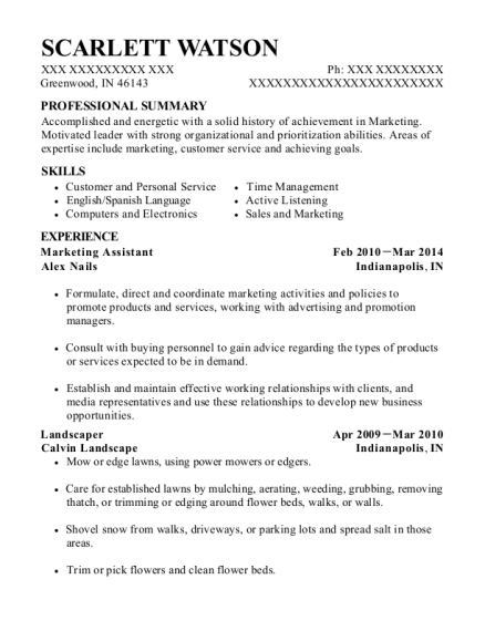 Marketing Assistant resume format Indiana