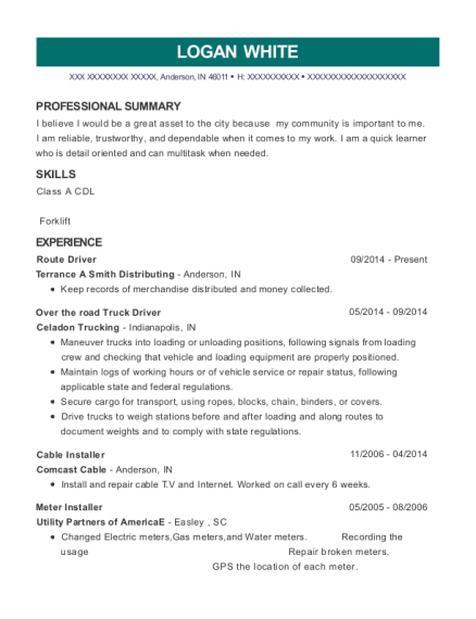Route Driver resume template Indiana