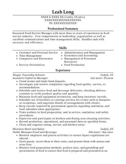 Assistant Cafeteria Manager resume template Indiana