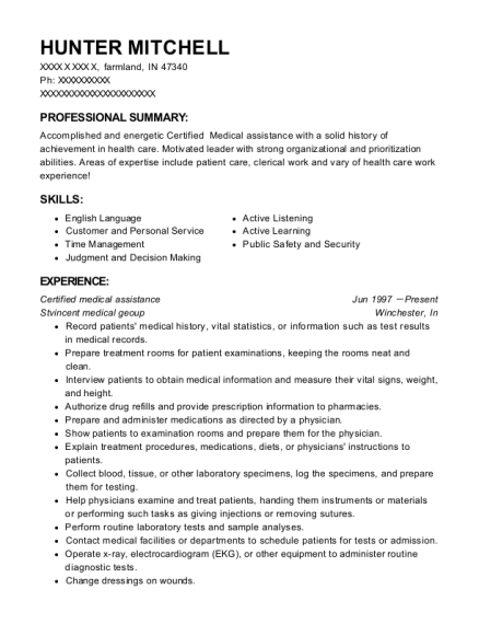 Certified medical assistance resume template Indiana