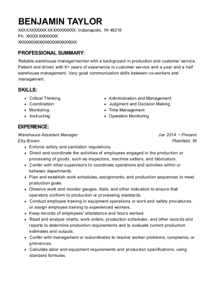 Warehouse Assistant Manager resume template Indiana