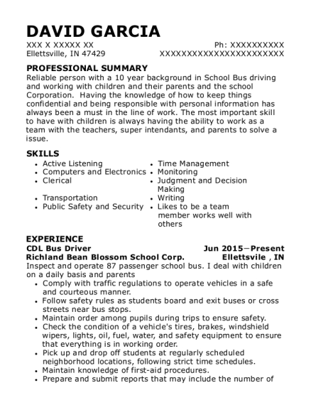 CDL Bus Driver resume sample Indiana