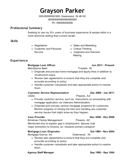 Mortgage Loan Officer resume sample Indiana
