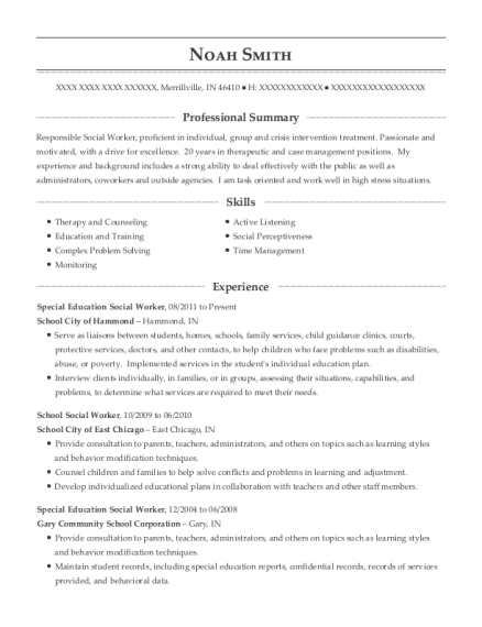 Special Education Social Worker resume template Indiana