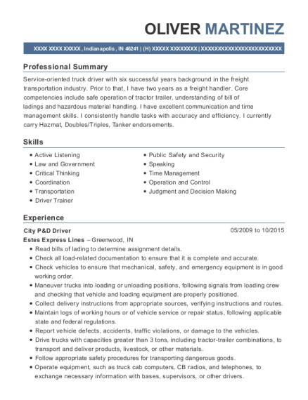 City P&D Driver resume format Indiana