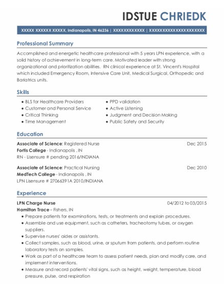 LPN Charge Nurse resume example Indiana
