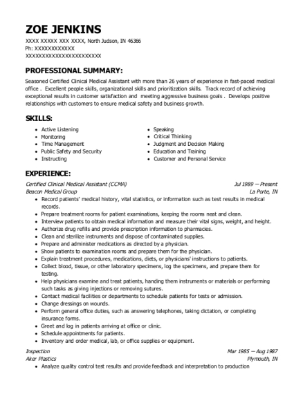 Certified Clinical Medical Assistant resume template Indiana