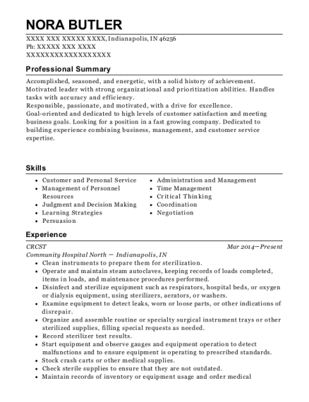 CRCST resume sample Indiana